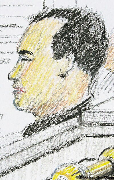 An artist's drawing of Vince Li inside the courtroom in Winnipeg.