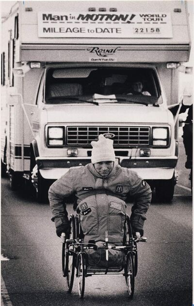 Rick Hansen faces Prairie winds on the Trans-Canada Highway as he took his Man in Motion tour out of Winnipeg in January 1987.
