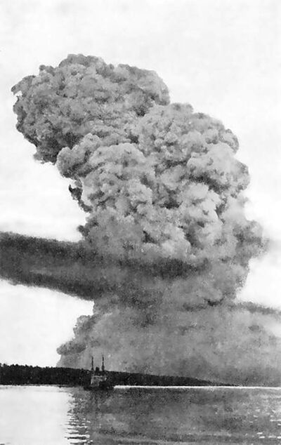 View of the Halifax Explosion mushroom cloud  around 15 to 20 seconds after the blast on December 6, 1917.