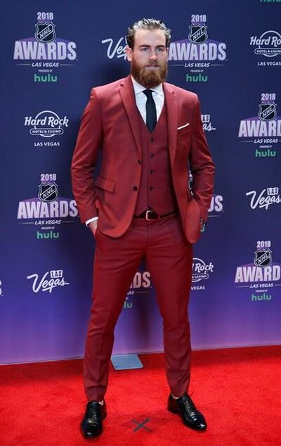 Buffalo Sabres' Ryan O'Reilly poses on the red carpet before the NHL Awards, Wednesday, June 20, 2018, in Las Vegas. (AP Photo/John Locher)