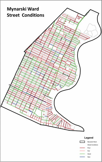 A map of roadways in Mynarski ward. Streets with a 34% failure rate in Mynarski are coloured red.