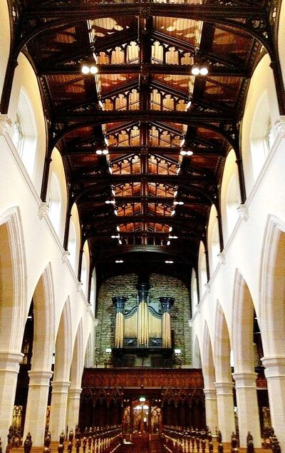St. Columb's Cathedral from the 17th century boasts a 19th-century Canadian pine ceiling refurbishment.
