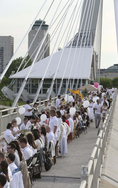 Jason Halstead / Winnipeg Free Press files</p><p>The first Table for 1200 More took place on the Esplanade Riel Bridge in 2014. </p>