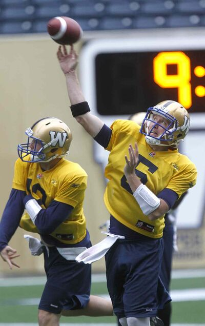 Winnipeg Blue Bomber #5 Drew Willy at the team practice in Investors Group Field Thursday.