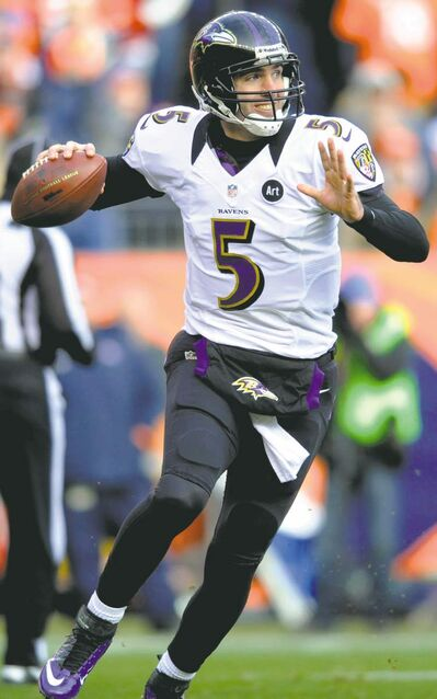 Baltimore Ravens quarterback Joe Flacco (5) rolls out of the pocket to throw against the Denver Broncos in the second quarter of an AFC divisional playoff NFL football game, Saturday, Jan. 12, 2013, in Denver. (AP Photo/Jack Dempsey) closecut close cut