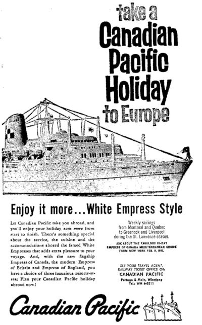 &#34;Let Canadian Pacific take you abroad, and you&#39;ll enjoy your holiday even more from start to finish,&#34; encourages this advertisement from the June 19, 1961 Winnipeg Free Press.</p>