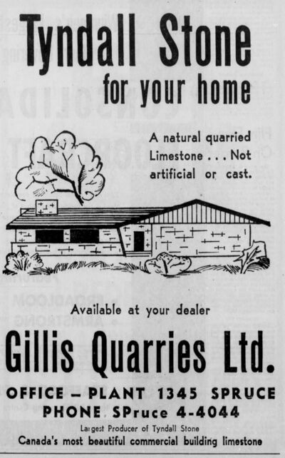 WINNIPEG TRIBUNE ARCHIVES</p><p>1961 newspaper ad promoting the use of Tyndall stone in new, suburban homes.</p>