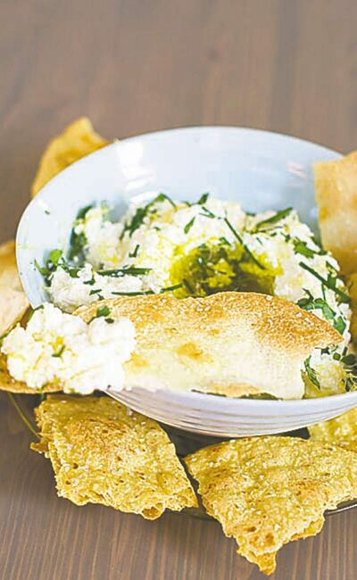 Buttermilk ricotta cheese dip  with homemade crackers.