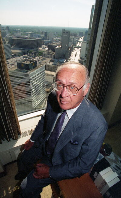 George Richardson, sitting high above the city in a 1996 photo, personified the down-to-earth nature of Winnipeggers.