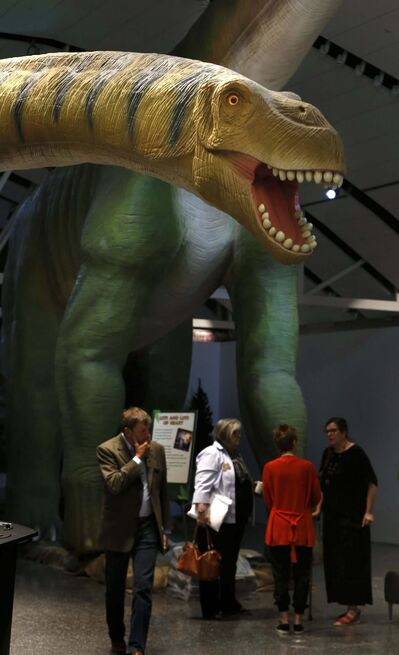 The robotic Mamenchisaurus looms over World&rsquo;s Giant Dinosaurs visitors during Thursday&rsquo;s media preview at the Manitoba Museum.</p></p>