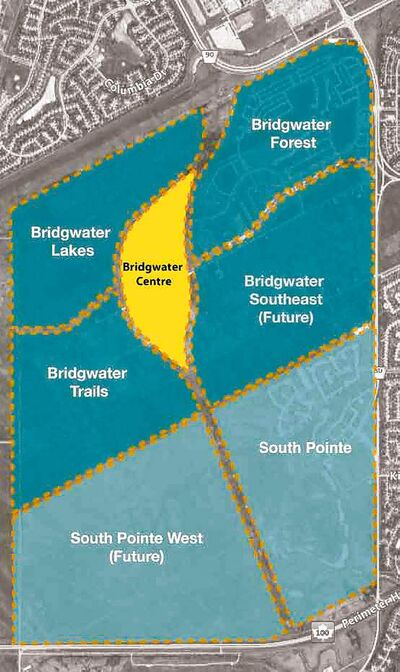 An overview of the Waverley West development showing the separate neighbourhoods and the location of the Bridgwater Town Centre.
