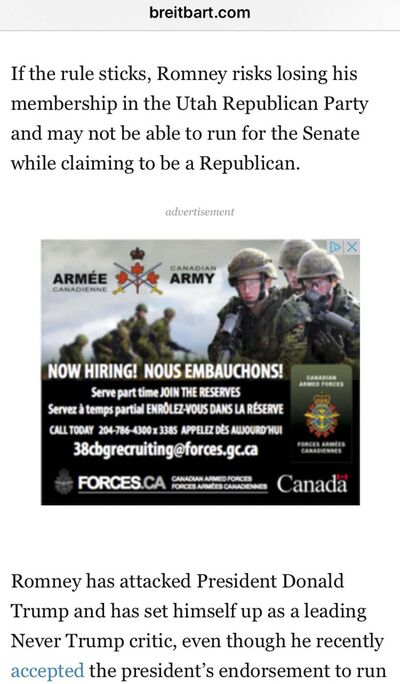 A screen capture of a Canadian military recruitment ad on Breitbart.com.</p></p>