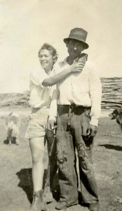 Herdy in the late 1950s with father George Herdy on their family farm in West St. Paul.</p>
