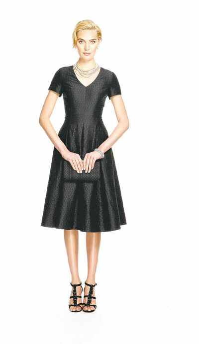 Black jacquard party dress.