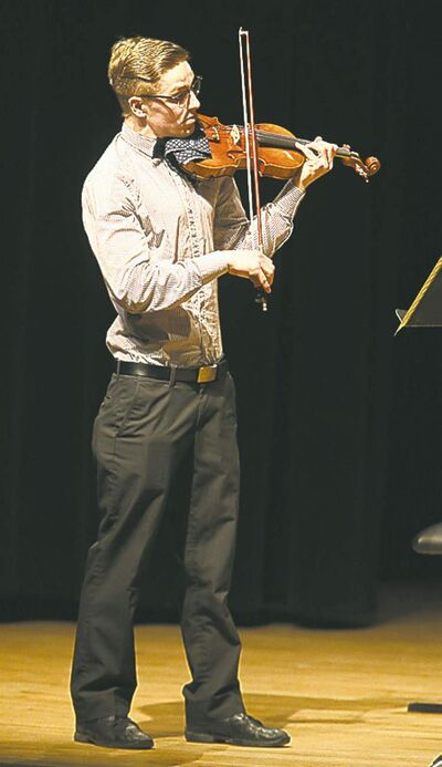 TREVOR HAGAN/WINNIPEG FREE PRESSThomas Roberts performs at the Aikins Memorial Trophy competition.
