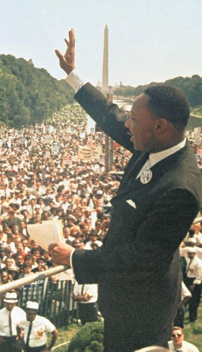 Martin Luther King Jr. at the Lincoln Memorial during the March on Washington on Aug. 28, 1963.