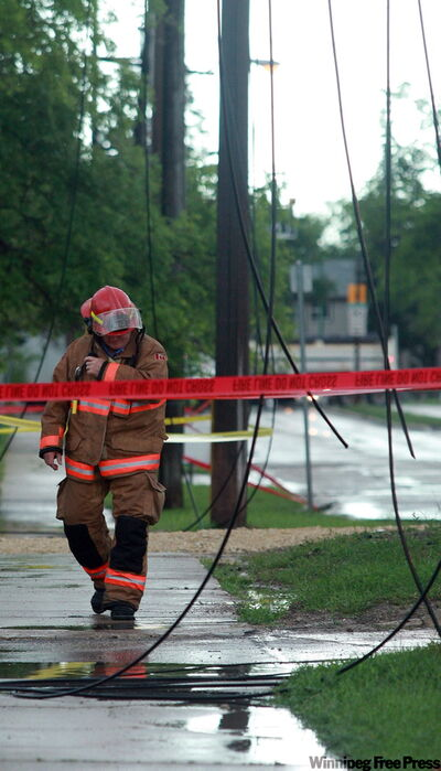 Power lines were down on Corydon Avenue at Centennial Street this morning.