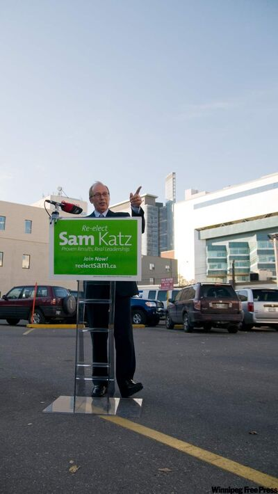 Sam Katz commits to redeveloping the parking lot at Ellice and Donald.