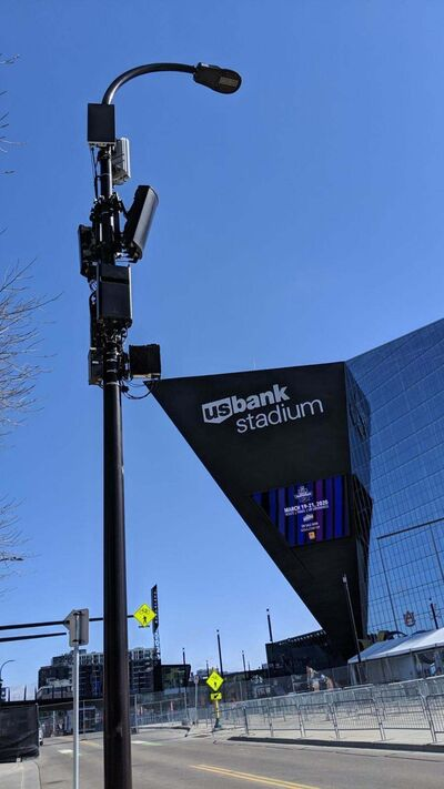 Verizon / TNS</p><p>A light pole near U.S. Bank Stadium in Minneapolis is mounted with 5G antennas, the rectangles near the top. </p>