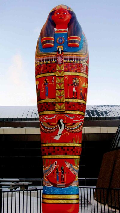 A replica sarcophagus, created by Manitoba artists, stands outside the front entrance of the Manitoba Museum to promote the musuem's newest exhibit, Wrapped: The Mummy of Pesed.