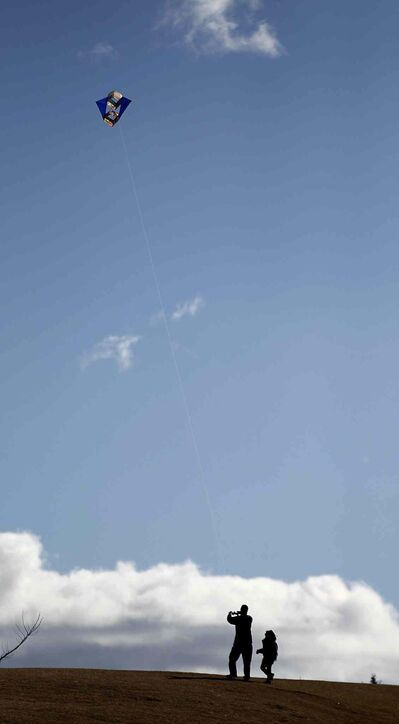 A kite has plenty of room to roam in the prairie sky above Westview Park (Phil Hossack / Winnipeg Free Press)
