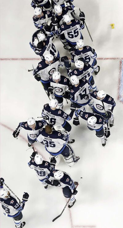 MARK HUMPHREY / THE ASSOCIATED PRESS FILES  </p><p>The Winnipeg Jets celebrate defeating the Nashville Predators 5-1 in Game 7 of the second round May 10, earning a trip to the Western Conference Championship.</p>
