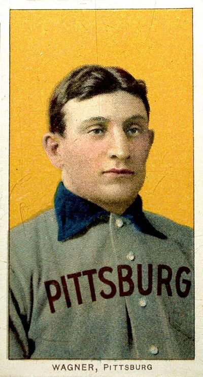 ** FILE ** The legendary T206 Honus Wagner baseball trading card is displayed June 6, 2000 in New York. This finest known example of the famed T206 Honus Wagner baseball card has been sold, a little more than six months after selling for a then-record price of $2.35 million to a California private collector. The auction company, California-based SCP Auctions Inc., has brokered the latest sale to a private collector for a record price of $2.8 million, according to a report, Thursday Sept. 6, 2007.  (AP Photo/Kathy Willens, File)