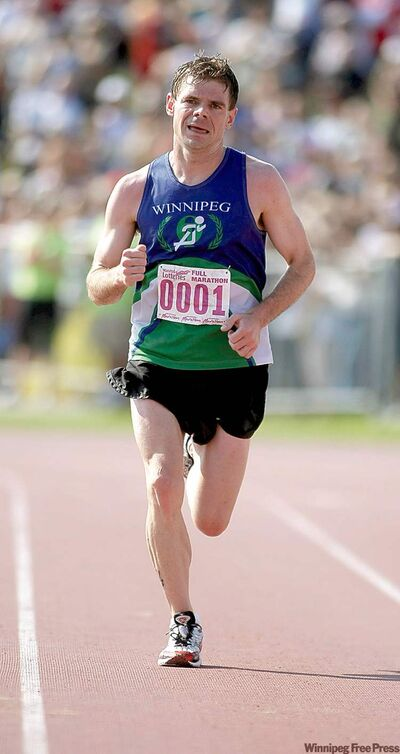 Winnipegger Michael Booth closes in on his fourth Mani­toba Marathon men's title Sunday morning.