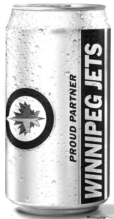 Winnipeg Jets beer can 2011. Budweiser is a partner to 23 NHL teams in the Canada and the U.S. close cut closecut