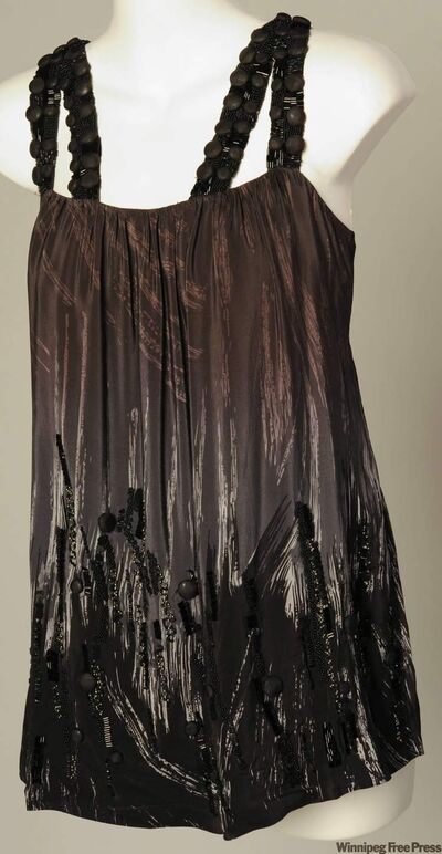 Sparkly, beaded splatterings and sequins make this brush stroke motif chemise by Gold Hawk pop, $127 at Hill's of Kerrisdale.