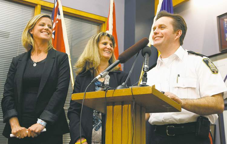 Christy Dzikowicz of the Canadian Centre for Child Protection (left), Det. Sgt. Shaunna Neufeld and Insp. Gord Perrier talk about finding Dominic and Abby Maryk.