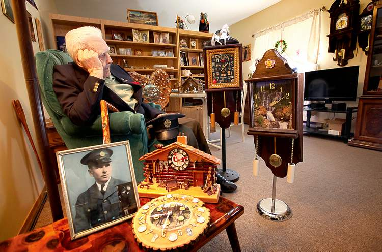 RUTH BONNEVILLE / WINNIPEG FREE PRESS�Digger� Joe Kutcher in his comfy suite surrounded by timepieces he made himself, well aware that time is not on his side at age 97.