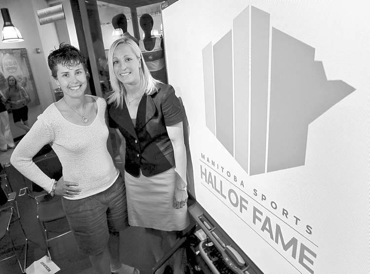 boris minkevich / winnipeg free pressBisons women�s basketball coach Pam Danis (left) and ex-Smitty�s pitcher Sandy Maskiw by the new hall of fame logo.
