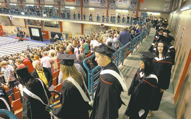 Graduating students file into the University of Winnipeg's Duckworth Centre for convocation ceremonies Thursday. Some 1,087 have earned diplomas.