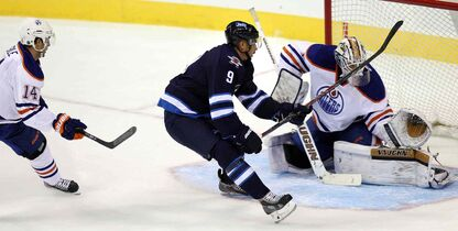 Winnipeg Jets left-winger Evander Kane didn't lose any sleep after failing to convert this breakaway on Edmonton Oilers netminder Laurent Brossoit during a pre-season game last week.