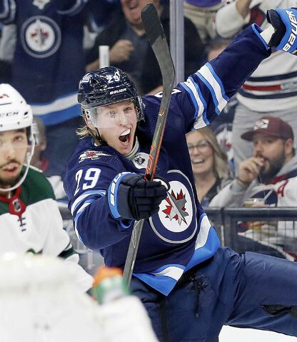 Winnipeg Jets' Patrik Laine celebrates a goal against the Minnesota Wild in October. In their past 10 home games, the Jets are 8-1-1.