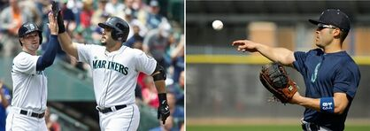 FILE - At left, in a June 17, 2014, file photo, Seattle Mariners' Jesus Montero, right, is congratulated by teammate Cole Gillespie after hitting two-run home run that scored Gillespie during second inning of a baseball game against the San Diego Padres in Seattle. At right, in a Feb. 21, 2015, file photo, Seattle Mariners' Jesus Montero throws during spring training baseball practice in Peoria, Ariz. Big and bloated or slim and sleek, plenty of players showed up to spring training this year looking nothing like they did last year. (AP Photo/File)