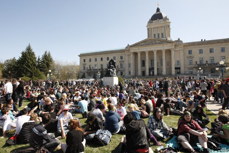 Hundreds of people lit up all manner of marijuana-related paraphernalia at the Manitoba Legislature at 4:20 p.m. on the twentieth day of the fourth month -- known as '4/20' -- a worldwide celebration of marijuana and a protest against marijuana prohibition laws.
