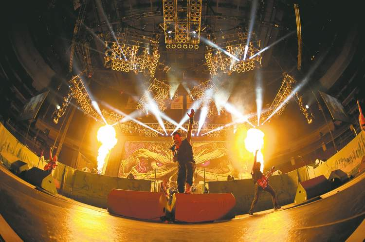 Iron Maiden's live shows are heavy on pyrotechnics.