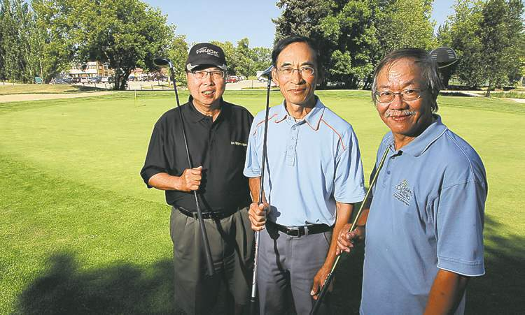 Garry Eng, Humphrey Yung and Joe Chung get in a practice round for the Asia Cup, which runs next month.
