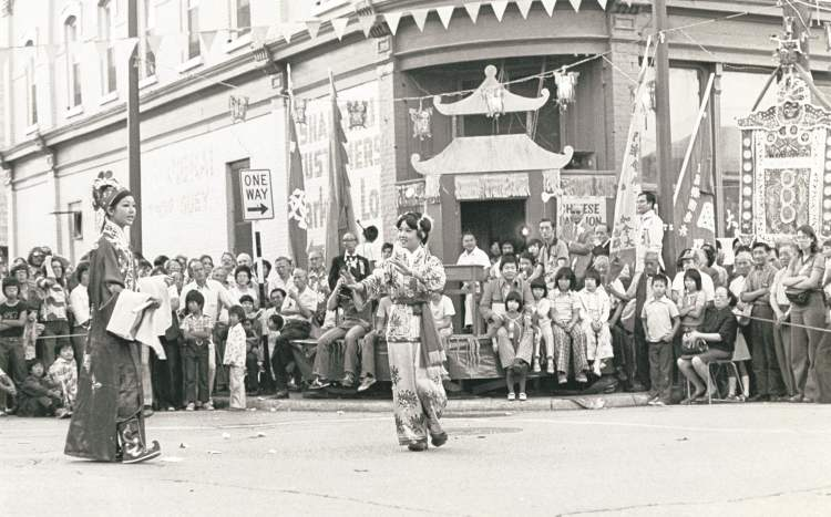 The intersection of King Street and Pacific Avenue was closed off Wednesday evening for a Chinese play and kung fu demonstration. August 12, 1976