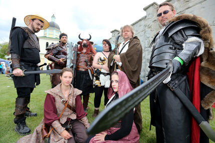 Havok, a group of Live Action Role Players, are dressed in costumes at the Medieval Festival in Cooks Creek Saturday.