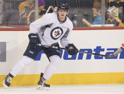 Andrew Copp had his first skate with the Jets on Saturday.