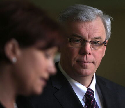Theresa Oswald with Premier Greg Selinger in 2011. Oswald made it official Friday: She wants his job.