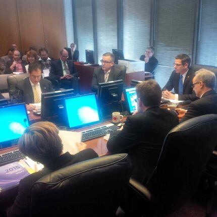 Council finance chairman Marty Morantz (left) speaks about Winnipeg's budget before Mayor Brian Bowman (right) tables it.