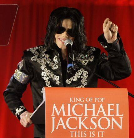 FILE - In this March 5, 2009 file photo, Michael Jackson announces several concerts at the London O2 Arena in July, at a press conference at the London O2 Arena. Emails displayed in a Los Angeles courtroom on Wednesday, May 22, 2013, show that a lawyer for AEG Live LLC's parent company described Jackson as a