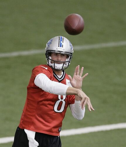 Detroit Lions quarterback Dan Orlovsky runs through drills at the Lions training facility in Allen Park, Mich., Tuesday, April 22, 2014. (AP Photo/Carlos Osorio)