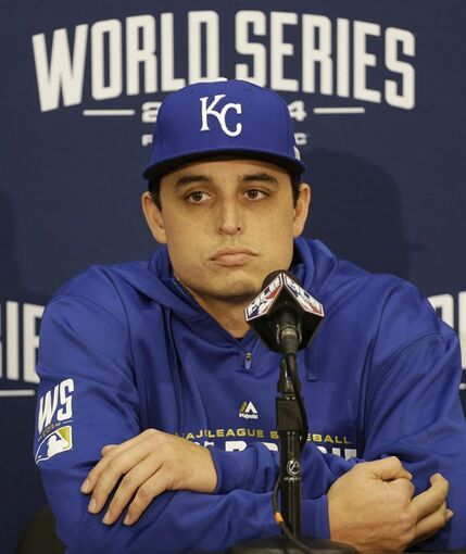 Kansas City Royals pitcher Jason Vargas speaks to reporters before Game 3 of baseball's World Series between the Kansas City Royals and the San Francisco Giants Friday, Oct. 24, 2014, in San Francisco. (AP Photo/Charlie Riedel)