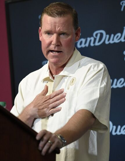 Washington Redskins general manager Scot McCloughan speaks to the media during a pre-draft NFL football press conference, Monday, April 27, 2015, in Ashburn, Va. (AP Photo/Nick Wass)