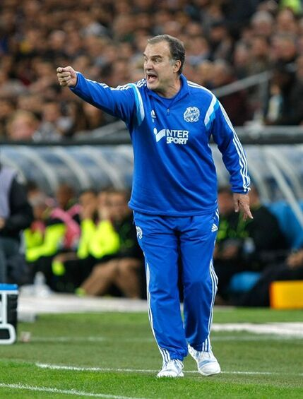 Marseille's Argentinian coach Marcelo Bielsa, gestures during their League One soccer match, at the Velodrome Stadium, in Marseille, southern France, Friday, Nov. 28, 2014. (AP Photo/Claude Paris)